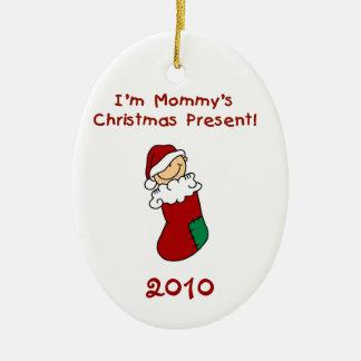 Ornamento del bebé del regalo de Navidad de la Adorno Ovalado De Cerámica