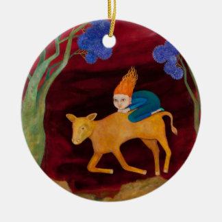 Ornamento del becerro de oro 2 adorno navideño redondo de cerámica
