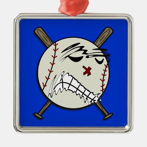 Ornamento del béisbol adorno cuadrado plateado