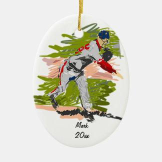 Ornamento del béisbol adorno ovalado de cerámica