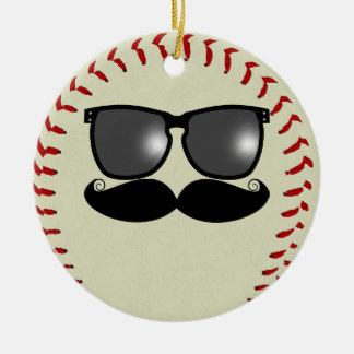 Ornamento del béisbol del bigote adorno navideño redondo de cerámica