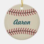 Ornamento del béisbol del vintage adorno navideño redondo de cerámica