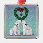 Ornamento del beso del oso polar adorno navideño cuadrado de metal