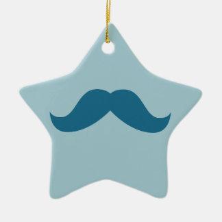 Ornamento del bigote adorno navideño de cerámica en forma de estrella