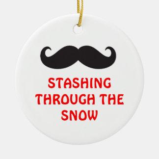 Ornamento del bigote adorno navideño redondo de cerámica