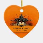 Ornamento del boda - amor de Halloween Adorno Navideño De Cerámica En Forma De Corazón
