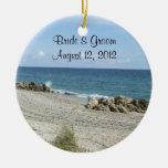 Ornamento del boda de playa de la Florida Ornamentos De Navidad