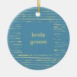 Ornamento del boda del azul de acero y de la prima