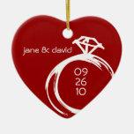 Ornamento del boda del recuerdo del anillo de adornos de navidad