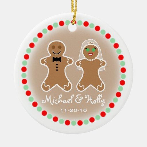 Ornamento del boda - novia y novio de Gingerbead Adornos De Navidad