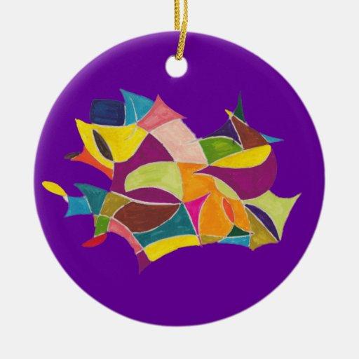 Ornamento del bosquejo 10 del color adorno navideño redondo de cerámica