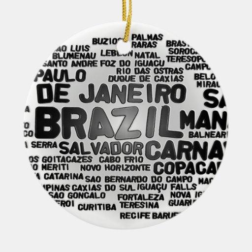 Ornamento del BRASIL Adorno Navideño Redondo De Cerámica