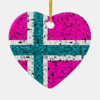 Ornamento del brillo de la bandera de Noruega Ornamentos De Reyes Magos
