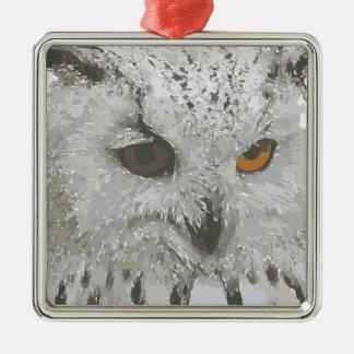 Ornamento del búho adorno navideño cuadrado de metal