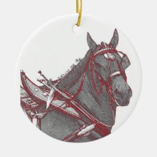 Ornamento del caballo de Percheron Adorno Navideño Redondo De Cerámica