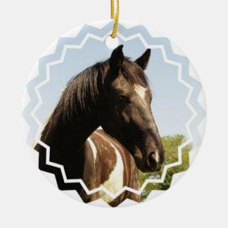 Ornamento del caballo de proyecto del condado adorno navideño redondo de cerámica