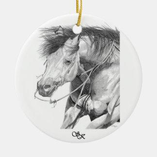 Ornamento del caballo del corte adorno navideño redondo de cerámica