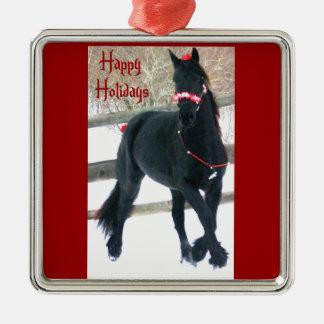 Ornamento del caballo del día de fiesta adorno navideño cuadrado de metal