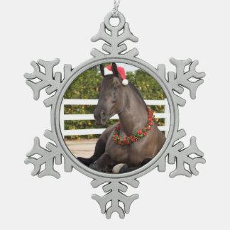 Ornamento del caballo del tractor adorno de peltre en forma de copo de nieve