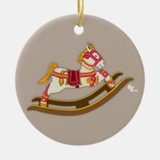 Ornamento del caballo mecedora adorno navideño redondo de cerámica