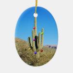 Ornamento del cactus de navidad adorno navideño ovalado de cerámica