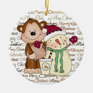 Ornamento del café del día de fiesta de los amigos adorno navideño redondo de cerámica