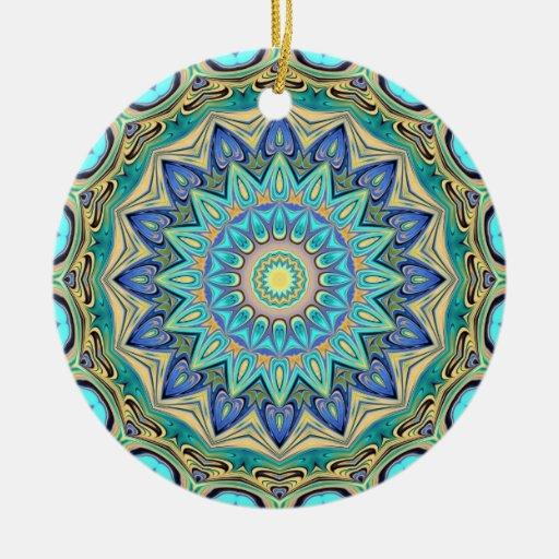 Ornamento del caleidoscopio adorno navideño redondo de cerámica