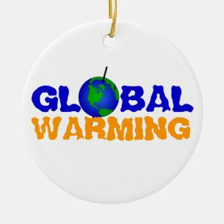 Ornamento del calentamiento del planeta adorno redondo de cerámica