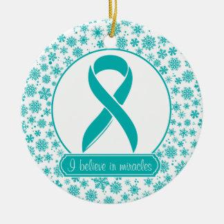 Ornamento del cáncer ovárico del copo de nieve del adorno de navidad