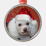 Ornamento del caniche del navidad adorno de navidad