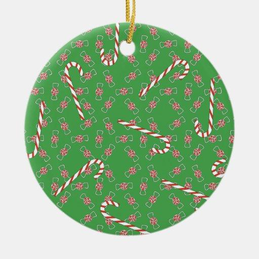 Ornamento del caramelo del navidad adorno navideño redondo de cerámica