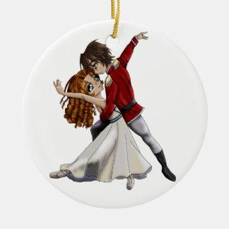 Ornamento del cascanueces del animado adorno navideño redondo de cerámica