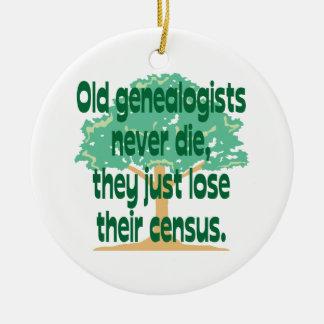 Ornamento del censo de la genealogía adorno navideño redondo de cerámica