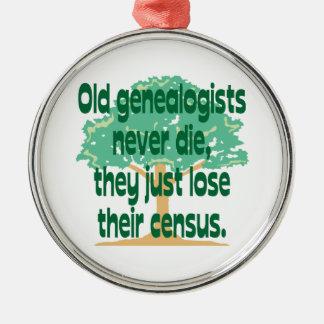Ornamento del censo de la genealogía adorno navideño redondo de metal