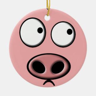 Ornamento del cerdo adorno navideño redondo de cerámica