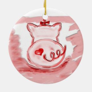 Ornamento del cerdo, ornamento del regalo de la adorno redondo de cerámica