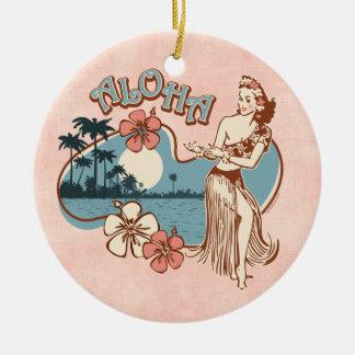 Ornamento del chica de Hula de la hawaiana Adorno Redondo De Cerámica