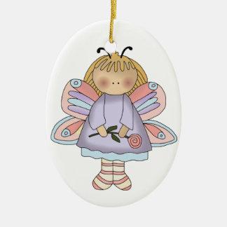 Ornamento del chica de la mariposa adorno navideño ovalado de cerámica