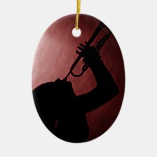 Ornamento del chica de la trompeta adorno navideño ovalado de cerámica