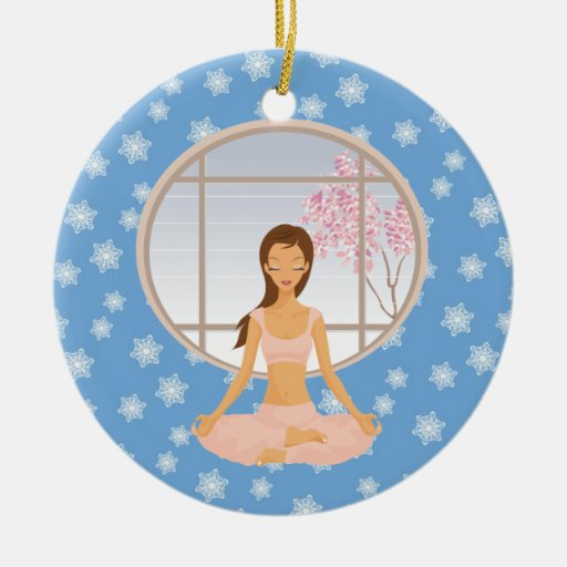 ornamento del chica de la yoga adorno redondo de cerámica