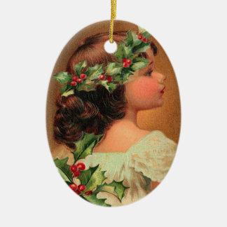 Ornamento del chica del acebo del Victorian Adorno Navideño Ovalado De Cerámica