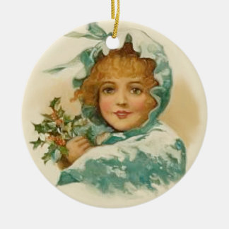 Ornamento del chica del acebo del Victorian Adorno Navideño Redondo De Cerámica