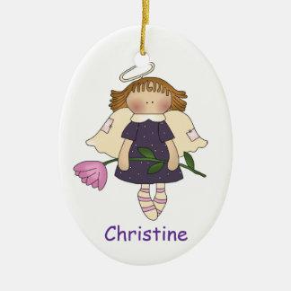 Ornamento del chica del ángel adorno navideño ovalado de cerámica