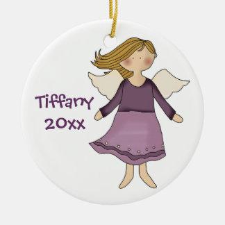 Ornamento del chica del ángel adorno navideño redondo de cerámica
