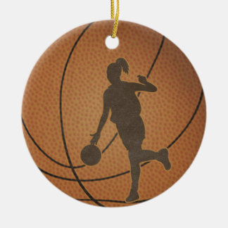 Ornamento del chica del baloncesto adorno navideño redondo de cerámica