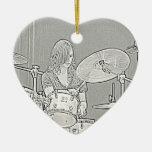 Ornamento del chica del batería adorno navideño de cerámica en forma de corazón