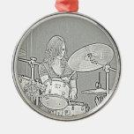 Ornamento del chica del batería adorno navideño redondo de metal