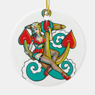 Ornamento del chica del marinero adorno redondo de cerámica