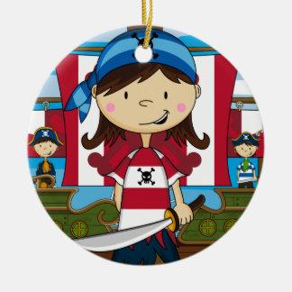 Ornamento del chica del pirata adorno redondo de cerámica