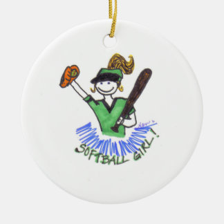 Ornamento del chica del softball adorno navideño redondo de cerámica